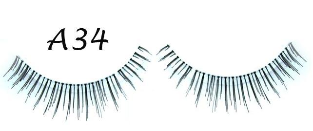 Real Full Black Hand Made Lashes With Flirty Curl #A34